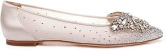 Badgley Mischka Quinn Satin Embellished Flats