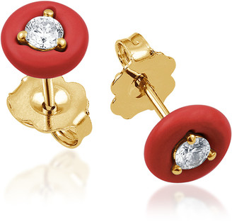 Vittorio B. Fine Jewels Belle Ciambelle 14K Gold Coral and Diamond Earrings