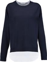Tibi Two-tone cotton and merino wool sweater