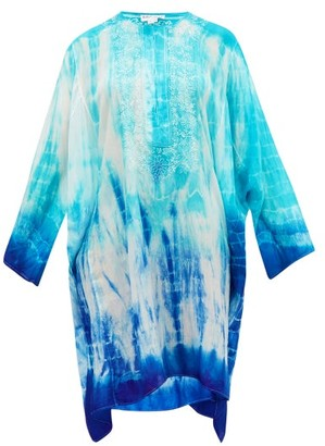 Juliet Dunn Embroidered Tie-dye Silk Kaftan - Blue Multi