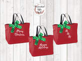 Etsy Christmas Gift Bag, Embroidered Merry Christmas, HoHoHo, Seasons Greetings, Happy Holidays Tote