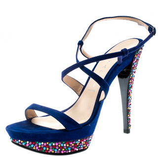 Casadei Royal Blue Suede Crystal Embellished Heel Ankle Wrap Platform Sandals Size 36.5