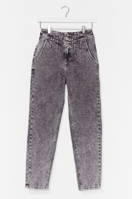 Nasty Gal Womens Wash Me Do It High-Waisted Mom Jeans - Grey