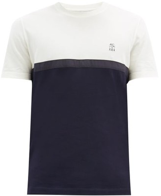 Brunello Cucinelli Bi-colour Cotton-jersey T-shirt - Navy Multi