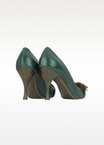 Marc Jacobs Ficus Green Leather Buckle Pump