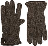 Barneys New York Men's Fleece-Lined Houndstooth Knit Wool Gloves-BROWN