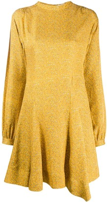 Derek Lam 10 Crosby Long Sleeve Godet Insert Mini Paisley Dress