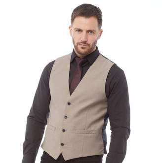 French Connection Mens Plain Ticket Pocket Waistcoat Faun Melange