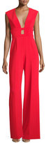Jay Godfrey Plunging Sleeveless Wide-Leg Crepe Jumpsuit