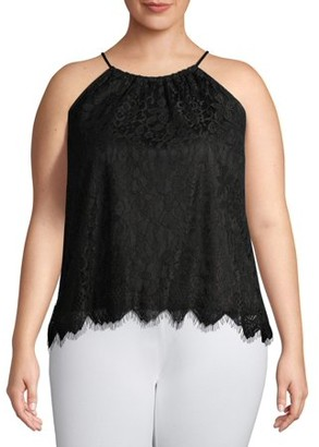 No Boundaries Juniors' Plus Size Halter Neck Lace Cami