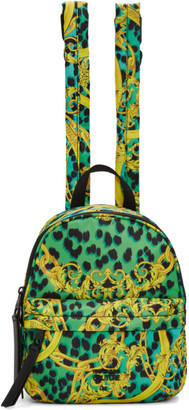 Versace Blue and Yellow Barocco Backpack