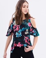 Wallis Tropical Cold Shoulder Top