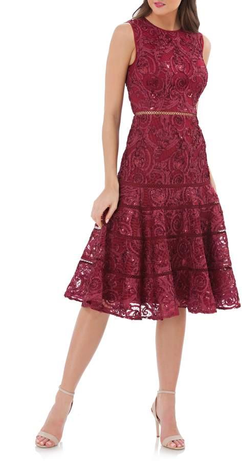 Carmen Marc Valvo Soutache Fit & Flare Dress