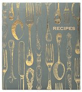 Eccolo World Traveler Recipe Keeper, Vintage Utensils, Grey/Gold