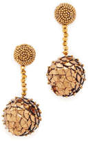 Oscar de la Renta Beaded Sequin Ball Earrings