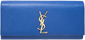 Saint Laurent Blue Leather Kate Monogram Clutch