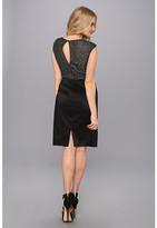 Maggy London Lurex Buroque Mesh Back Cap Sleeve Stretch Taffeta Dress