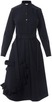 Talented Mandarin Collar Shirtdress With Ruffle Heart Applique Black