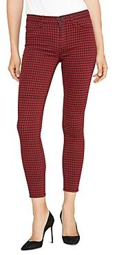 Hudson Barbara High-Rise Skinny Jeans in Oxblood Houndstooth