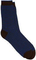 Barneys New York Men's Fine-Striped Cotton-Blend Mid-Calf Socks-BROWN