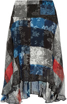 Preen by Thornton Bregazzi Amila flocked printed silk-chiffon skirt