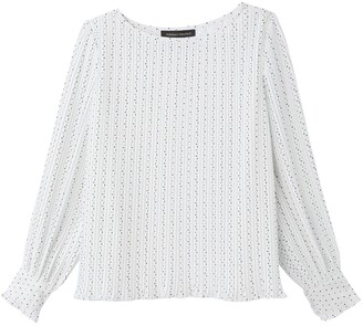 Vanessa Seward X La Redoute Collections Printed Pleated Blouse with Long Sleeves