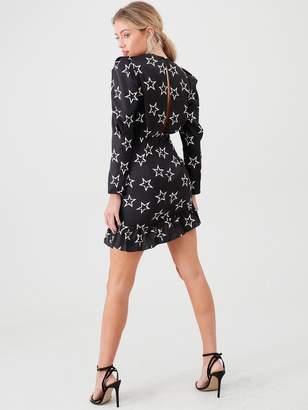 River Island Star Print Ruched Mini Dress- Black