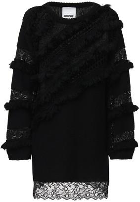 Koché Cotton & Wool Knit Mini Dress W/ Lace