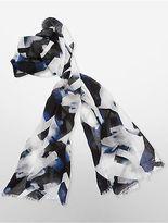 Calvin Klein Womens Lightweight Abstract Print Scarf Navy