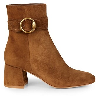 Gianvito Rossi Buckle Suede Ankle Boots