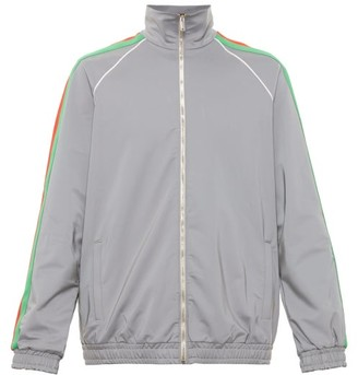 Gucci Web-stripe Iridescent-shell Track Jacket - Mens - Silver