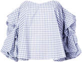 Caroline Constas off-the-shoulder gingham print blouse with gathered sleeves