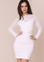 Missy Empire Amaya White Mesh Panel Lace Bodycon Dress