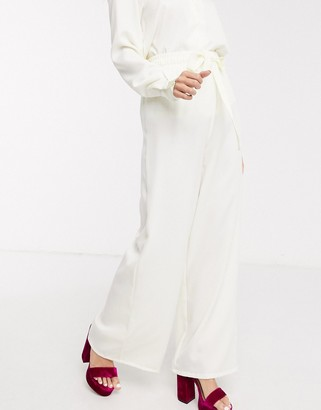 In The Style exclusive relaxed wide leg trouser in cream