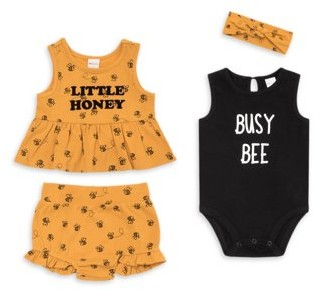 PL Baby by Petit Lem Baby Girl Peplum Top, Shorts, Bodysuit & Headband, 4-pc Outfit Set