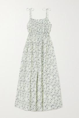Apiece Apart Cecile Shirred Floral-print Organic Cotton Maxi Dress - Off-white