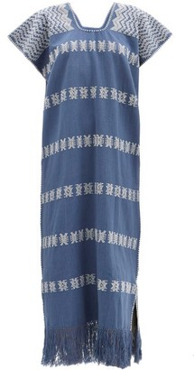 Pippa No. 224 Embroidered Cotton Kaftan - Blue Print