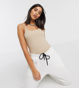 BEIGE Collusion COLLUSION square neck sleeveless ribbed body in