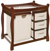 The Well Appointed House Cherry Sleigh Style Changing Table with Hamper and 3 Baskets