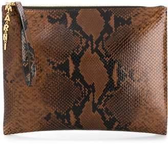 Marni snake-effect clutch bag