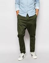 Asos Drop Crotch Chinos In Dark Khaki - Green