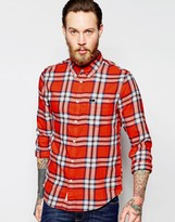 Lee Regular Fit Shirt Button Down Slub Twill Check In Red