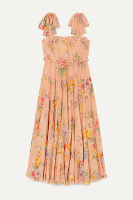 Zimmermann Zinnia Shirred Floral-print Cotton And Silk-blend Crepon Midi Dress - Pastel orange