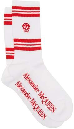 Alexander McQueen Skull Jacquard Cotton Blend Socks - Mens - Red