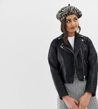 Miss Selfridge biker jacket in black faux leather