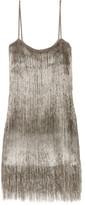 Rachel Zoe Della Fringed Open-knit Mini Dress - Silver