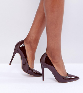 Asos Design DESIGN Wide Fit Paris pointed high heeled court shoes in espresso