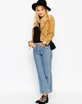 Asos Cropped Flare Jeans With Patch Pockets In Vintage Wash
