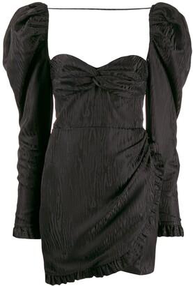 Alessandra Rich Textured Puff Sleeve Mini Dress