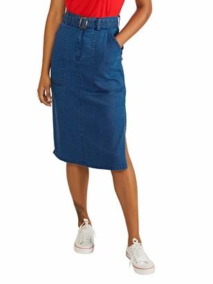 Yumi Women's Longer Line Denim Skirt with Belt Detail